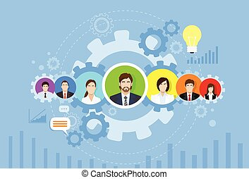 Business People Group Icon Cog Wheel Banner Concept Teamwork Infographic