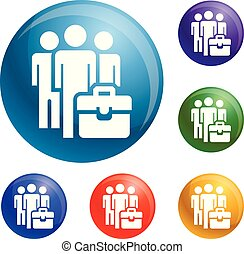 Business people group icons set vector