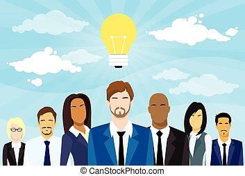 Business People Group Idea Concept Light Bulb Flat Vector...