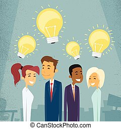 Business People Group Idea Concept Light Bulb Retro Vector...