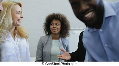 Business People Group Meeting, Two Senior Boss With Team Discussing Project In Modern Office Mix Race Happy Smiling Coworkers Communication