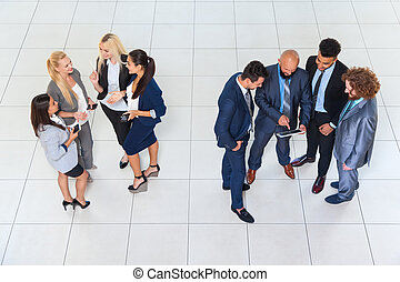 Business People Group Men and Women Standing Separate Discussion Meeting Businesspeople Colleague Team Communication Concept Modern Office