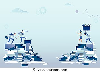 Business People Group On Documents Stack Paperwork Problem Concept