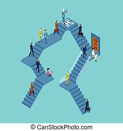 Business People Group On Staircase Businesspeople 3d