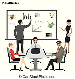 Business People Group Presentation ,isolated on white background