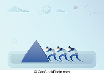 Business People Group Pushing Stone Together Teamwork Cooperation Concept