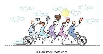 Business People Group Riding Bike Teamwork Concept