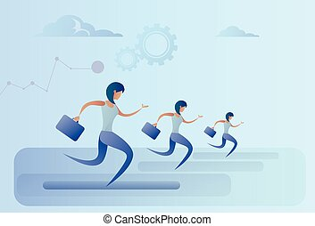Business People Group Run Team Leader Competition Concept