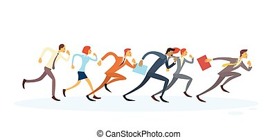 Business People Group Run To Finish Team Leader Competition Concept Isolated
