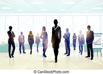 Business People Group Silhouette Executives Team in Office...