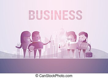 Business People Group Silhouette Meeting Speak Discussion Communication Concept