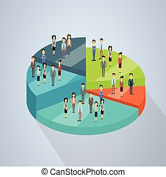 Business People Group Stand On Pie Diagram Success Teamwork Concept 3d Isometric