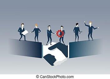 Business People Group Standing On Handshake Businessmen Hands Shake Partners Agreement Teamwork Cooperation Concept