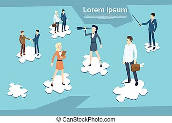 Business People Group Standing on Puzzle Piece Businesspeople Team Teamwork Concept