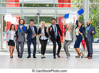 Business People Group Successful Excited Team In Modern Office, Businesspeople Happy Smile