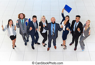Business People Group Successful Excited Team Top Angle View, Businesspeople Happy Smile With Raised Hands