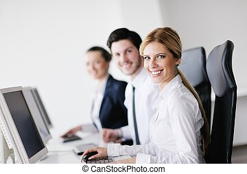 business people group working in customer and help desk office
