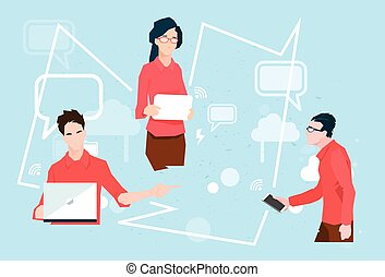 Business People Group Working Internet Connection Communication