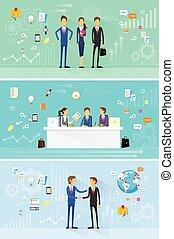 business people group working set, handshake meeting