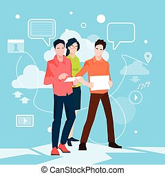 Business People Group Working Teamwork Flat Vector...