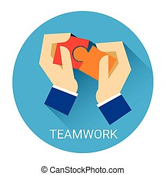 Business People Hand Matching Puzzle Teamwork Concept