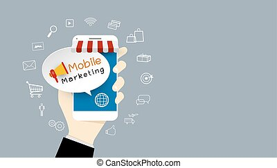 Business people hand showing mobile marketing design with icon
