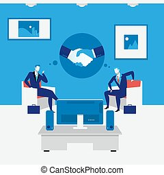 Business people handshake concept vector illustration in flat style