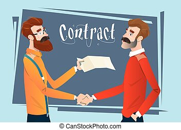 Business People Handshake Meeting Signing Agreement, Businessmen Hand Shake Contract