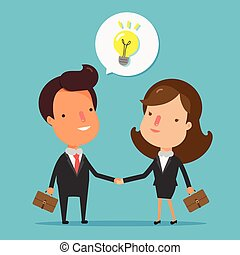 Business people handshake. Shaking hands happy standing