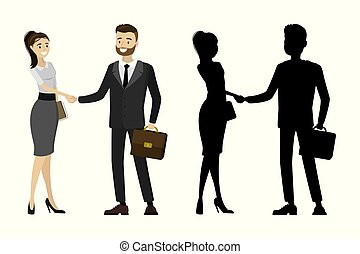Business people handshake with silhouette male and female