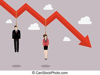 Business people hang on a graph down