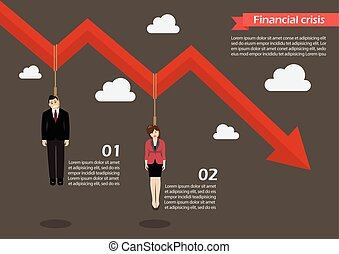 Business people hang on a graph down infographic