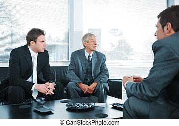 Business people having a break