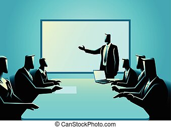 Business people having a meeting - Business illustration of ...