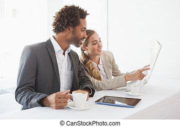 Business people having coffee on their break
