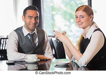 Business people having coffee