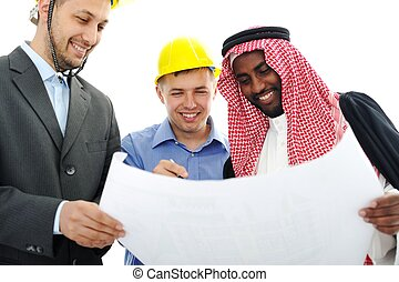 Business people having consultanting about new project at Middle east