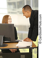 Business People Having Fun In Office - shot of two business...