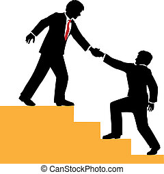 Business person helping partner climb to success
