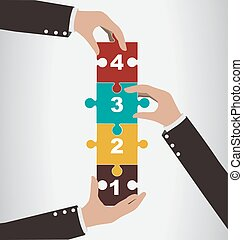 Business people help to assembly vertical puzzle, teamwork concept