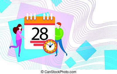 Business People Hold Calendar Timetable Deadline Work Time Concept