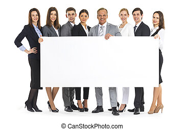 Business people holding a banner