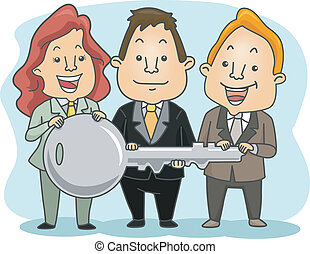 Business People Holding a Key
