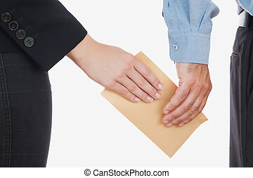 Business people holding an envelope