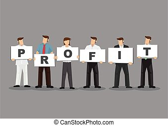 Business People Holding Cards Spelled Profit Cartoon Vector ...