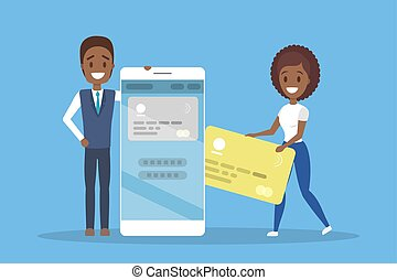 Business people holding credit card and mobile phone