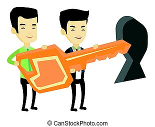 Business people holding key in front of keyhole.