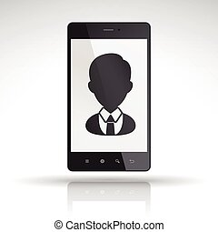 business people icon on mobile phone