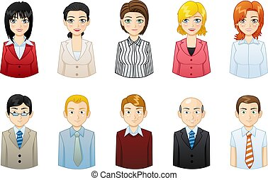 Business people icons avatars set - illustration man and woman