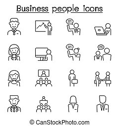 Business people icons set in thin line style